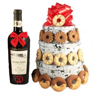 Christmas Perfecto Cookies Gift Basket-With Red Wine