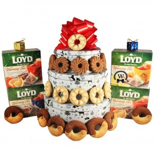 Christmas Perfecto With Tea – Cookies Gift Basket Tin Tower