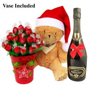 Christmas Teddy Wishes With Sparkling Wine