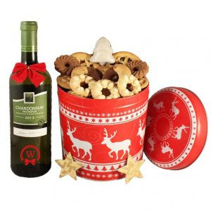 Christmas Unlimited Cookies Gift Basket With Chardonnay