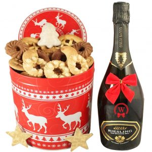 Christmas Unlimited  – Cookies Gift Basket With Sparkling Wine
