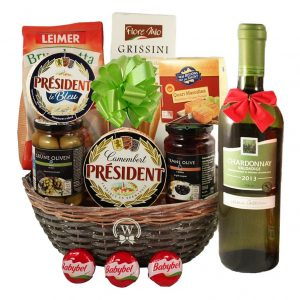 Season Greeting with White Wine – Gift Basket
