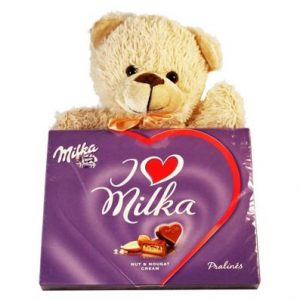 Sweet Milka Hearts With A Teddy