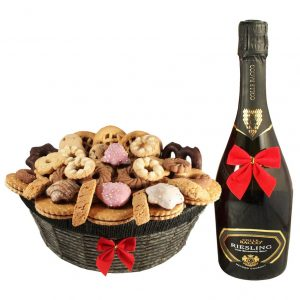 Ambassador Cookies Basket with Sparkling Wine