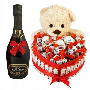 Bostjan Teddy Bear Heart Shape Kinder with Sparkling Wine