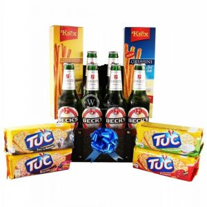 Becks For Good Grissini and Tuc Beer Basket