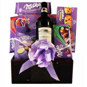 Milka Chocolate Collection – Wine Gift Basket