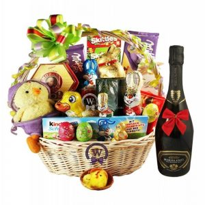 Deluxe Easter Gift Basket with Sparkling Wine