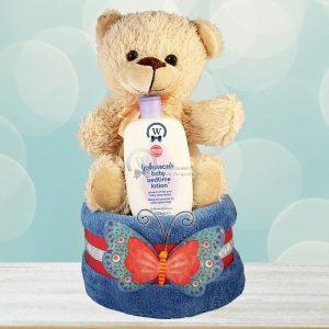 Teddy Diaper Cake For Boy